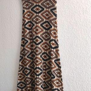 Yahada Southwest Axtec Print Maxi Skirt